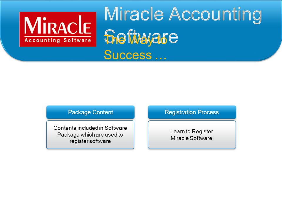 The Way to Success … Package Content Registration Process Contents included in Software Package which are used to register software Contents included in Software Package which are used to register software Learn to Register Miracle Software Learn to Register Miracle Software
