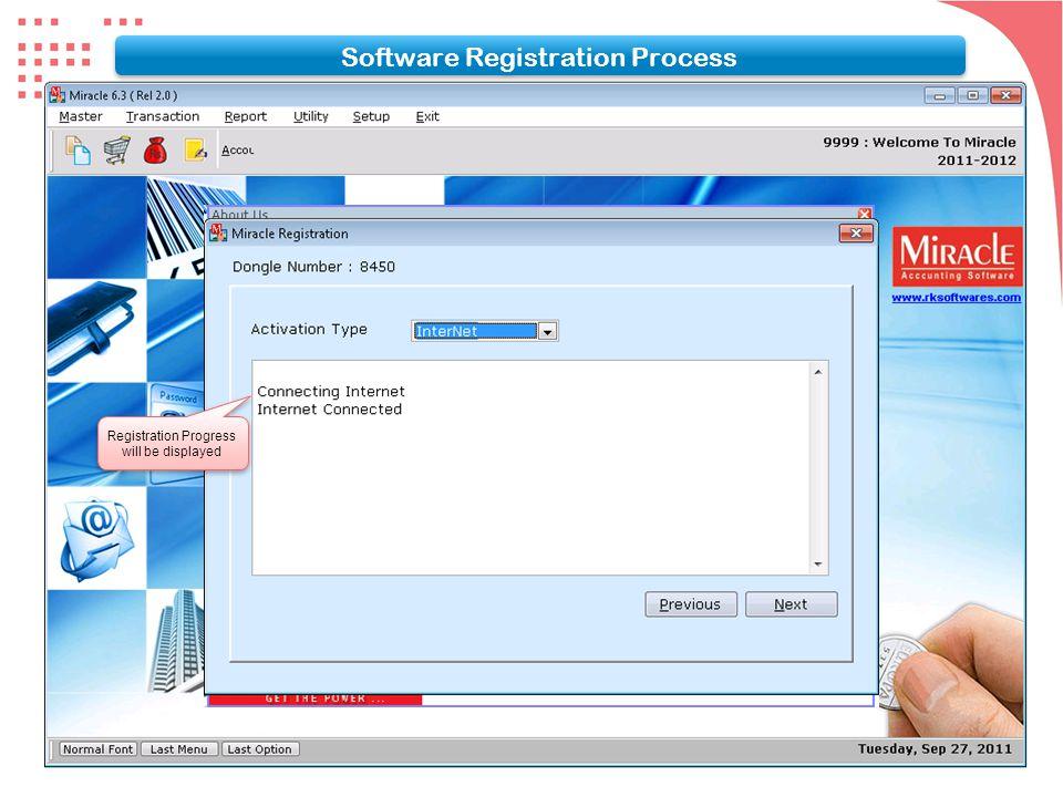 Registration Progress will be displayed