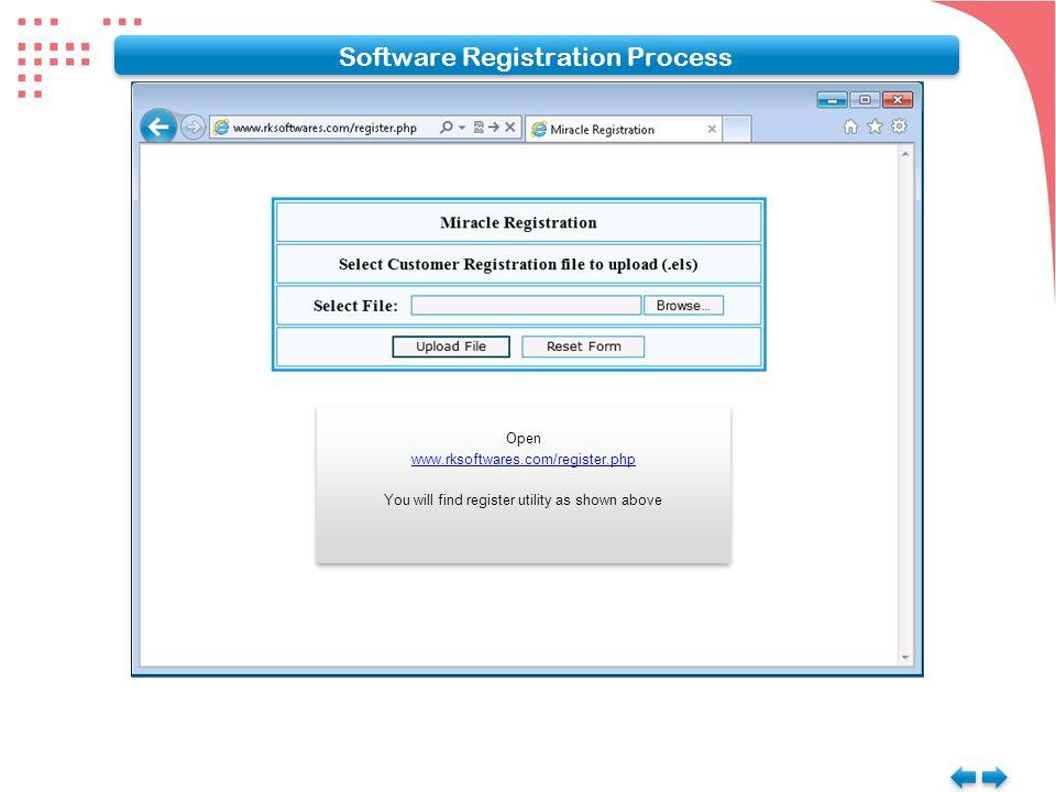 Open www.rksoftwares.com/register.php You will find register utility as shown above Open www.rksoftwares.com/register.php You will find register utility as shown above Software Registration Process