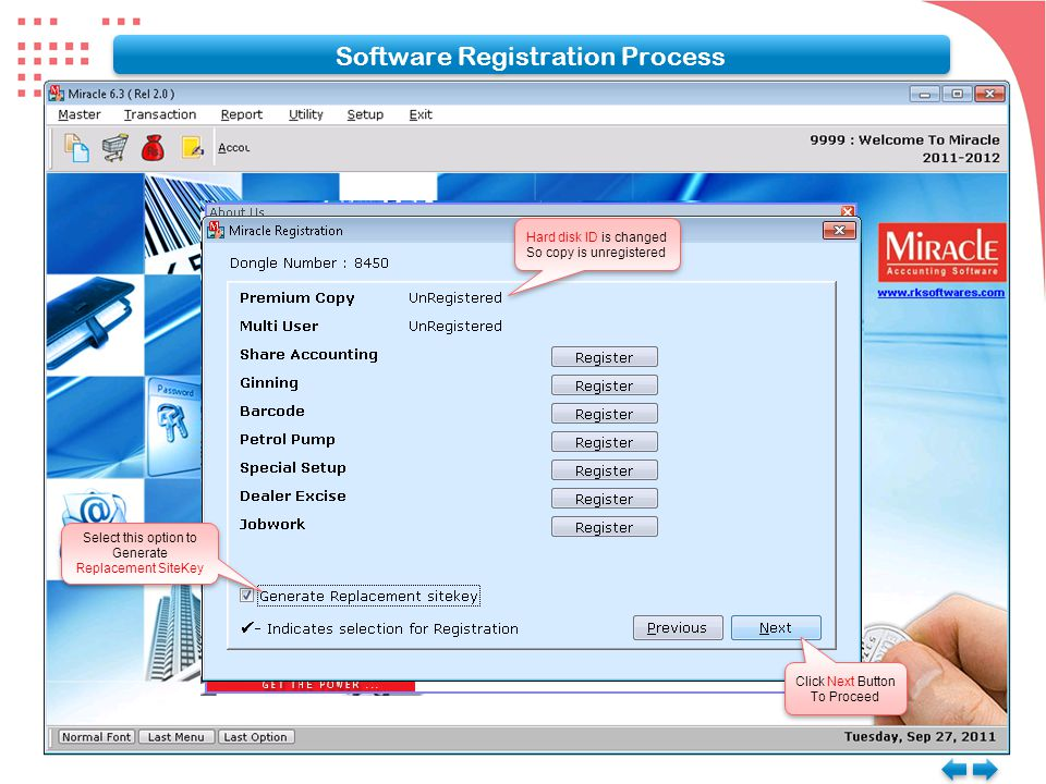 Software Registration Process Select this option to Generate Replacement SiteKey Select this option to Generate Replacement SiteKey Click Next Button