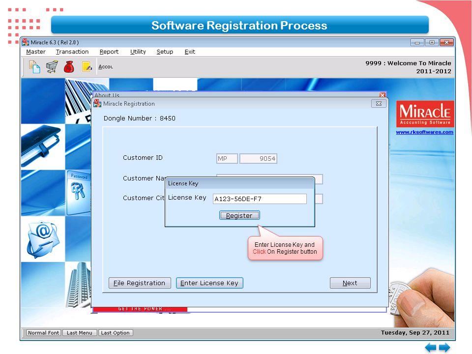 Software Registration Process Enter License Key and Click On Register button