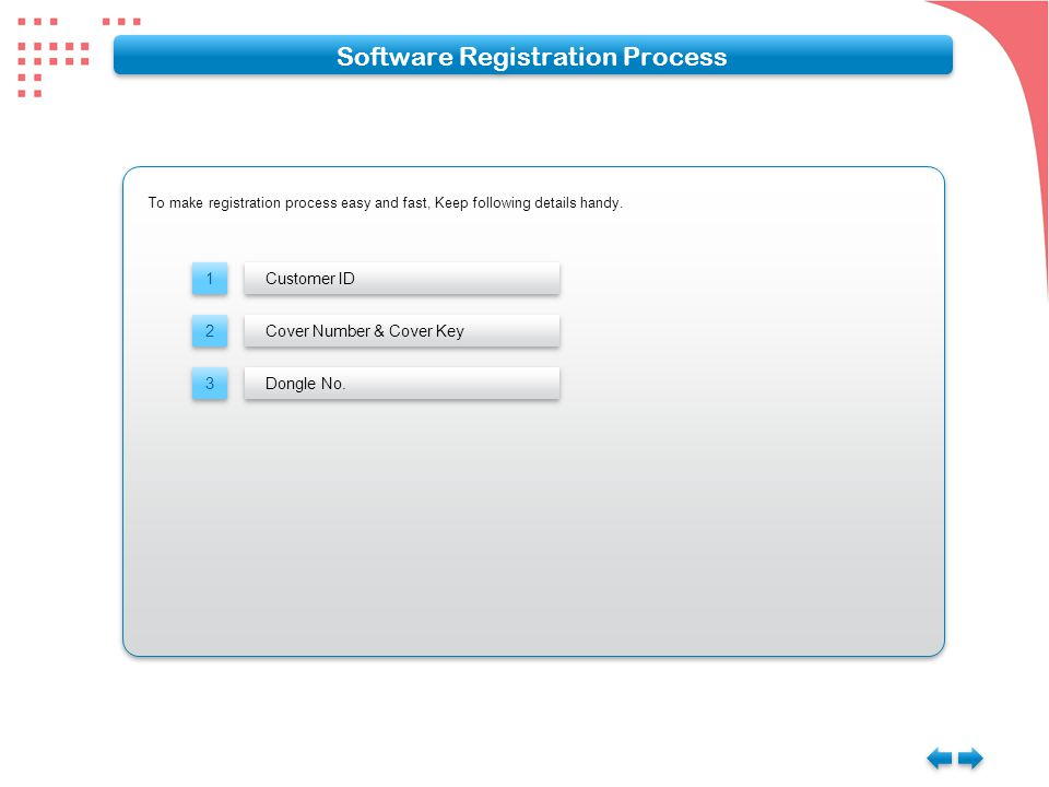 To make registration process easy and fast, Keep following details handy. Software Registration Process 1 1 Customer ID 2 2 3 3 Cover Number & Cover K