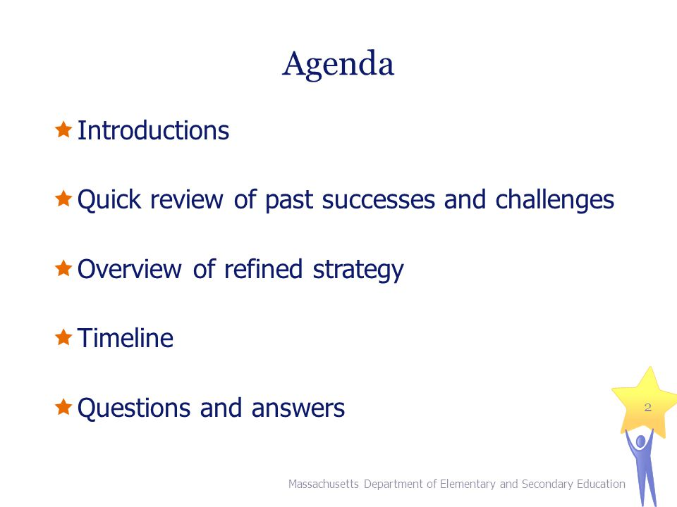 Agenda  Introductions  Quick review of past successes and challenges  Overview of refined strategy  Timeline  Questions and answers Massachusetts