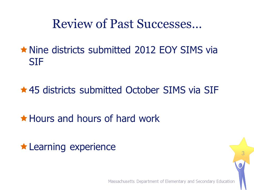 Review of Past Successes…  Nine districts submitted 2012 EOY SIMS via SIF  45 districts submitted October SIMS via SIF  Hours and hours of hard wor