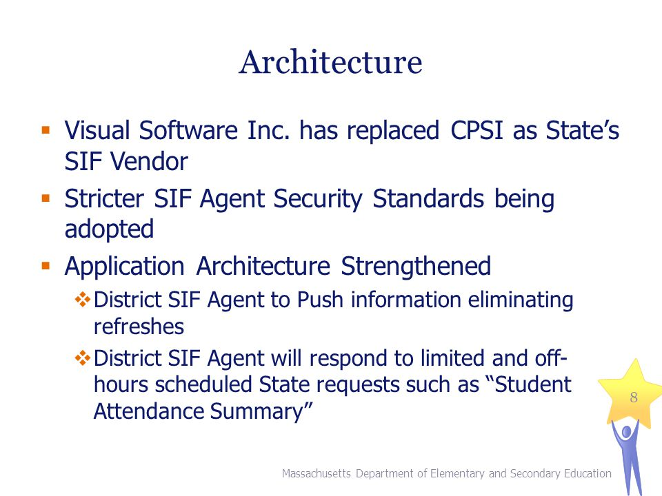 Architecture Massachusetts Department of Elementary and Secondary Education 8  Visual Software Inc. has replaced CPSI as State's SIF Vendor  Stricte