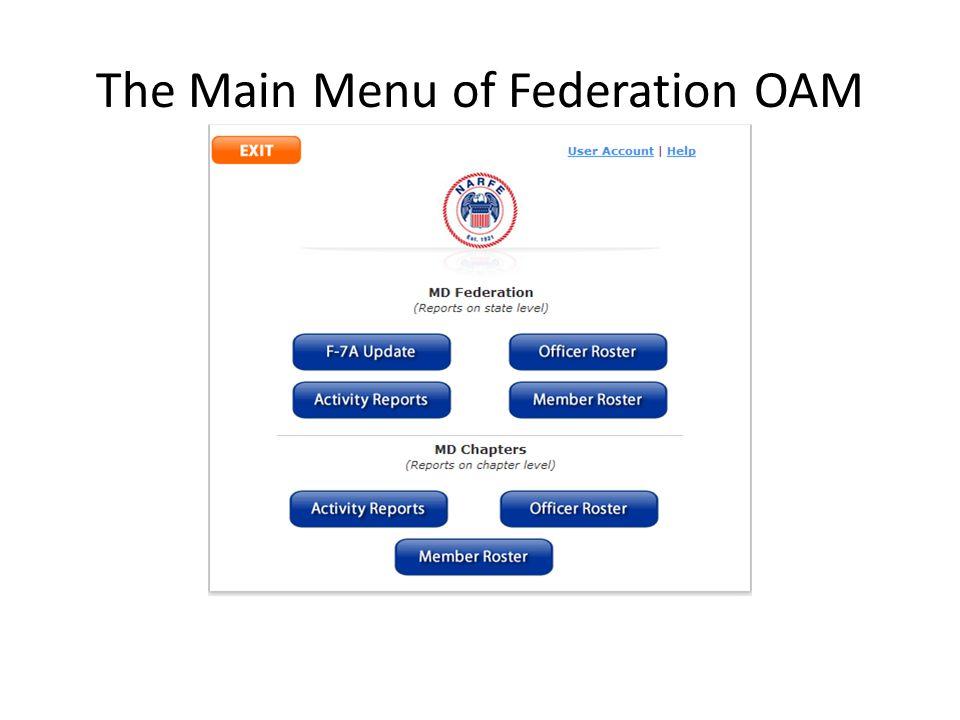 The Main Menu of Federation OAM
