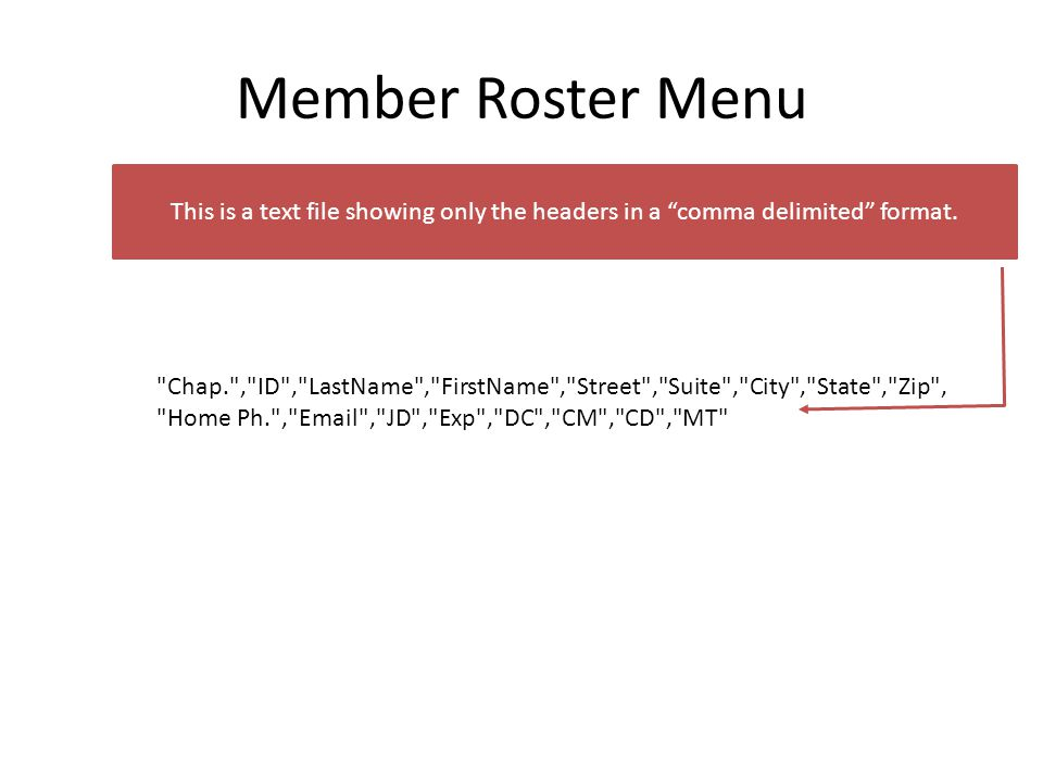 Member Roster Menu This is a text file showing only the headers in a comma delimited format.