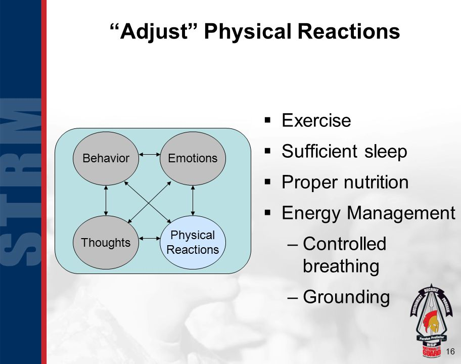 16 Adjust Physical Reactions  Exercise  Sufficient sleep  Proper nutrition  Energy Management –Controlled breathing –Grounding BehaviorEmotions Physical Reactions Thoughts