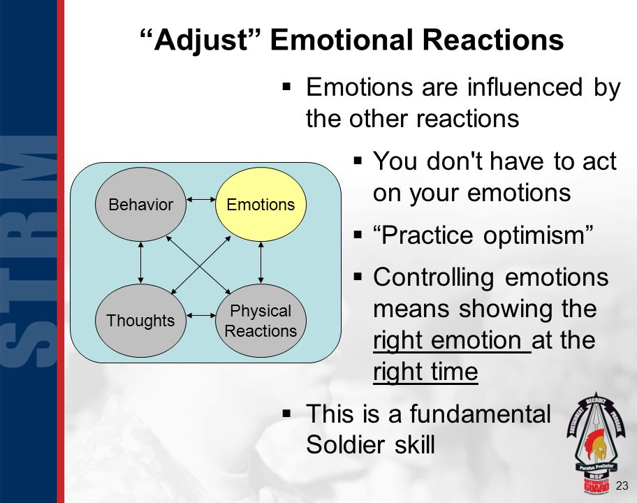 23 Adjust Emotional Reactions  Emotions are influenced by the other reactions  You don t have to act on your emotions  Practice optimism  Controlling emotions means showing the right emotion at the right time  This is a fundamental Soldier skill BehaviorEmotions Physical Reactions Thoughts