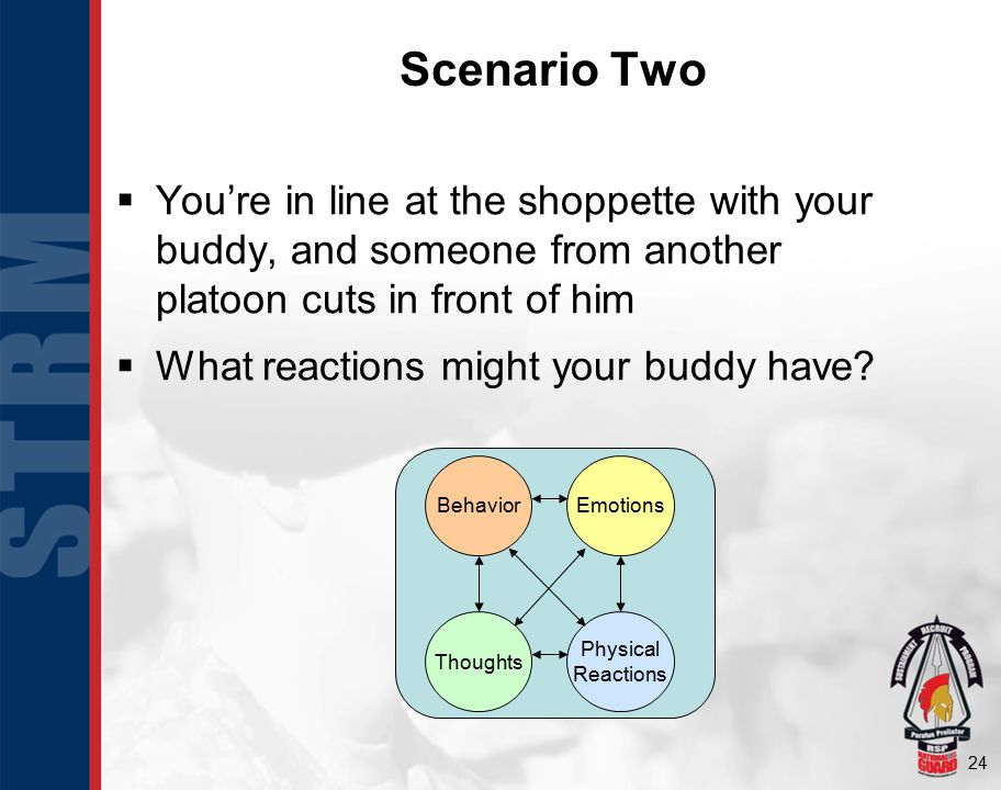 24 Scenario Two  You're in line at the shoppette with your buddy, and someone from another platoon cuts in front of him  What reactions might your b