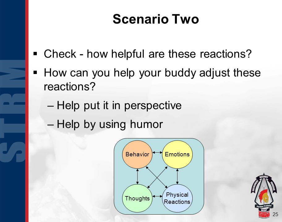 25 Scenario Two  Check - how helpful are these reactions.
