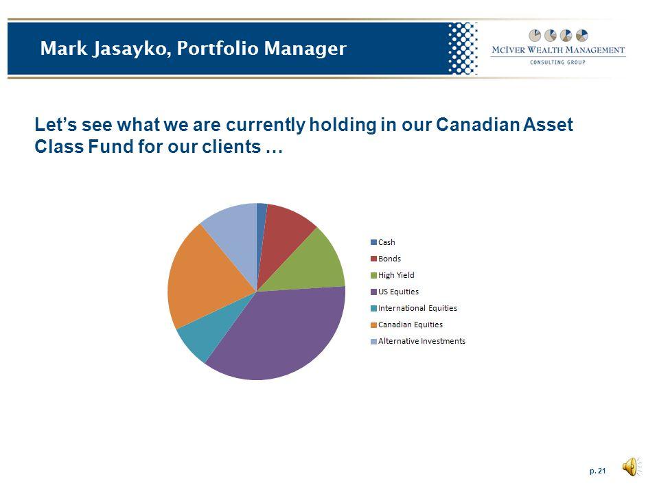 p. 20 Mark Jasayko, Portfolio Manager Our Current Average Portfolio Allocation February 2013