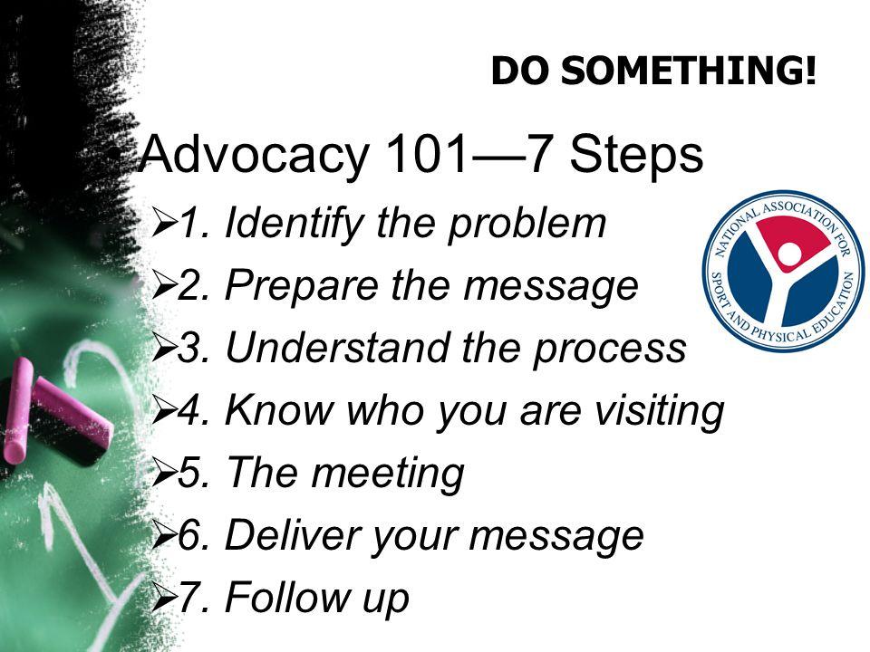 DO SOMETHING. Advocacy 101—7 Steps  1. Identify the problem  2.