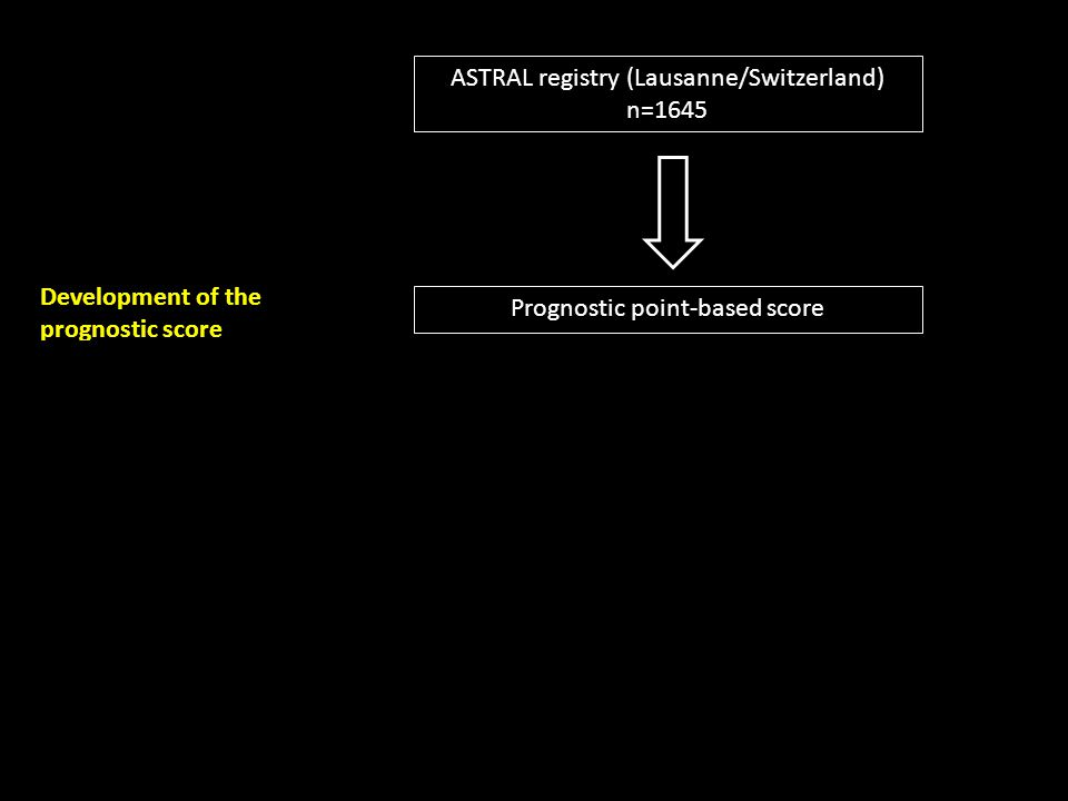 ASTRAL registry (Lausanne/Switzerland) n=1645 Athens Stroke registry n=1659 Vienna Stroke registry n=653 Development of the prognostic score Double ex