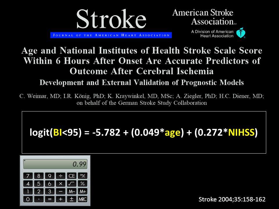 logit(BI<95) = -5.782 + (0.049*age) + (0.272*NIHSS) Stroke 2004;35:158-162