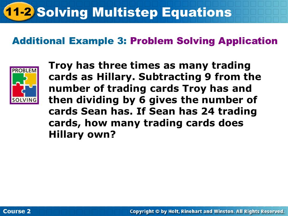 Troy has three times as many trading cards as Hillary. Subtracting 9 from the number of trading cards Troy has and then dividing by 6 gives the number