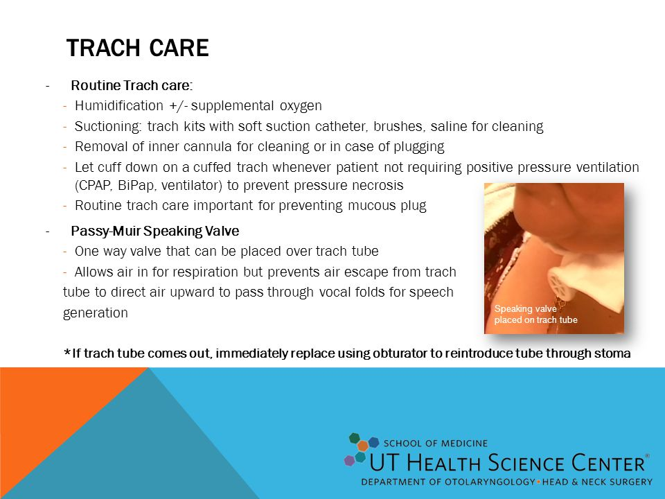 TRACH CARE -Routine Trach care: -Humidification +/- supplemental oxygen -Suctioning: trach kits with soft suction catheter, brushes, saline for cleani
