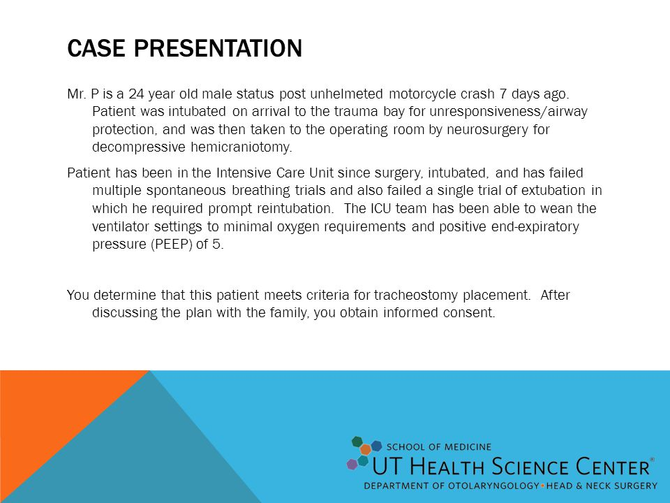 CASE PRESENTATION Mr. P is a 24 year old male status post unhelmeted motorcycle crash 7 days ago. Patient was intubated on arrival to the trauma bay f