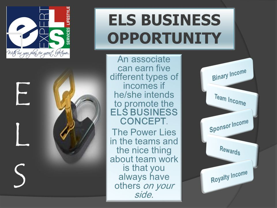 ELS BUSINESS OPPORTUNITY An associate can earn five different types of incomes if he/she intends to promote the ELS BUSINESS CONCEPT.