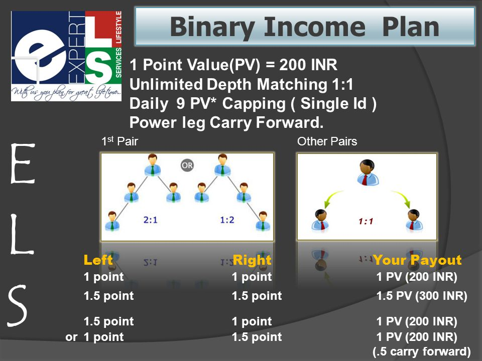 Binary Income Plan 1 Point Value(PV) = 200 INR Unlimited Depth Matching 1:1 Daily 9 PV* Capping ( Single Id ) Power leg Carry Forward.