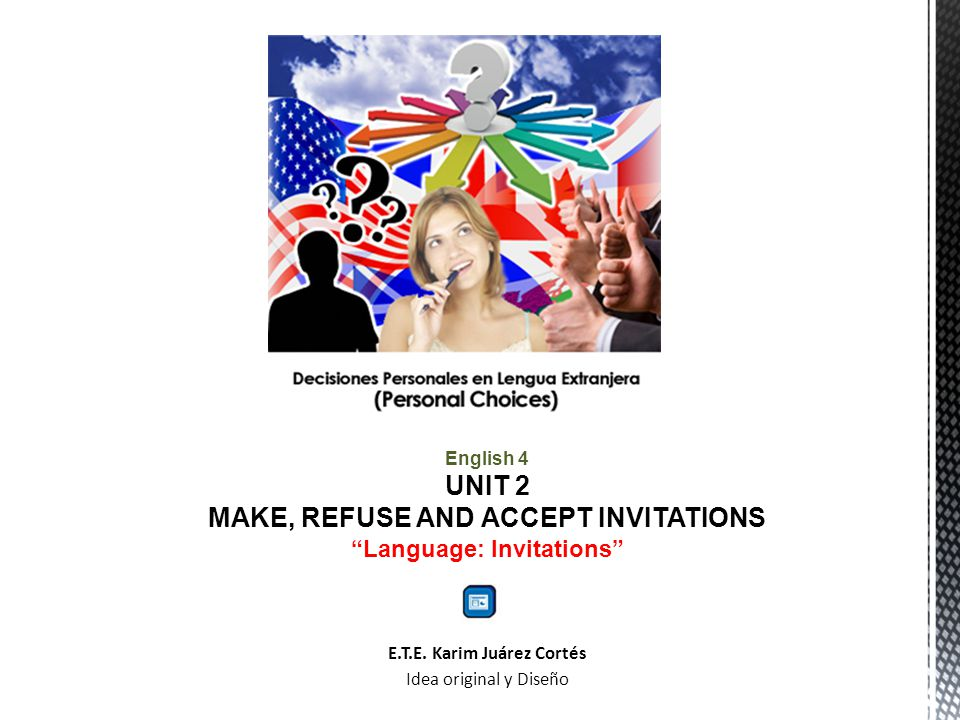 English 4 UNIT 2 MAKE, REFUSE AND ACCEPT INVITATIONS Language: Invitations E.T.E.