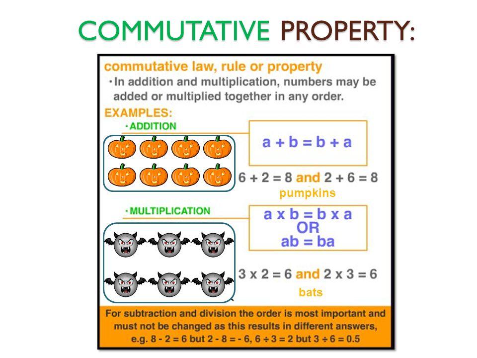 COMMUTATIVE PROPERTY: pumpkins bats