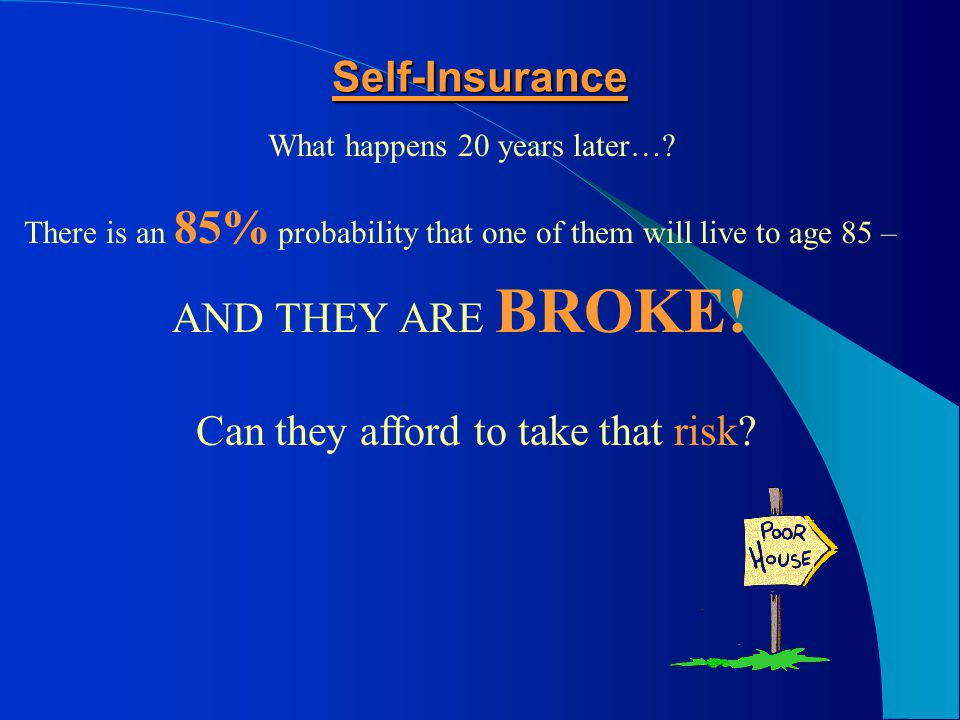 Self-Insurance What happens 20 years later…