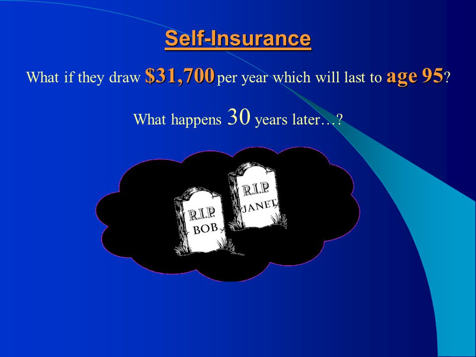 Self-Insurance Can they afford to take that risk? There is a 69% probability that one of them will live to age 90 – AND THEY ARE BROKE!