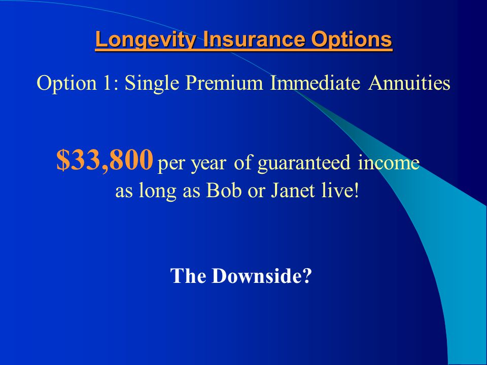 Bob and Janet's Longevity Insurance Options Click to Return to Presentation Menu Or click to continue