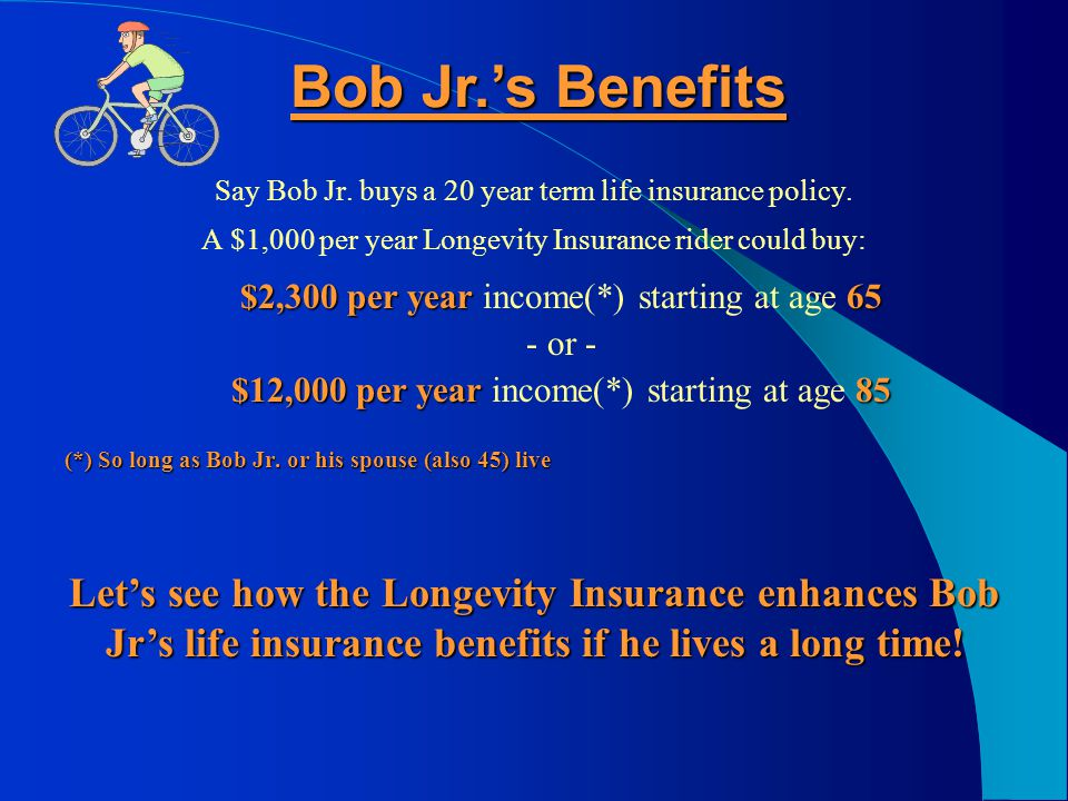 Let's Meet 45 year old Bob Jr. needs to save for retirement Bob and Janet's son needs to save for retirement too. He also needs life insurance He also