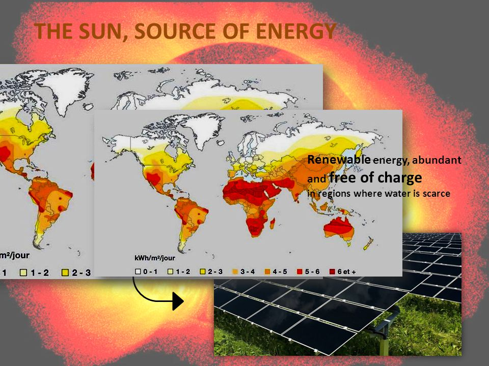 THE SUN, SOURCE OF ENERGY Renewable energy, abundant and free of charge in regions where water is scarce