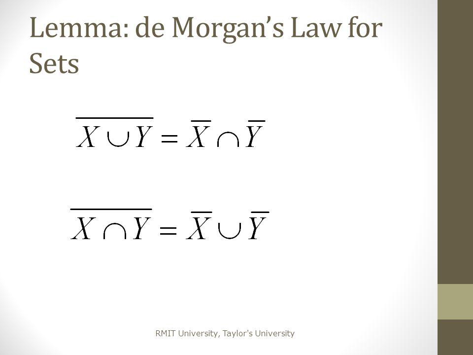 RMIT University, Taylor's University Lemma: de Morgan's Law for Sets