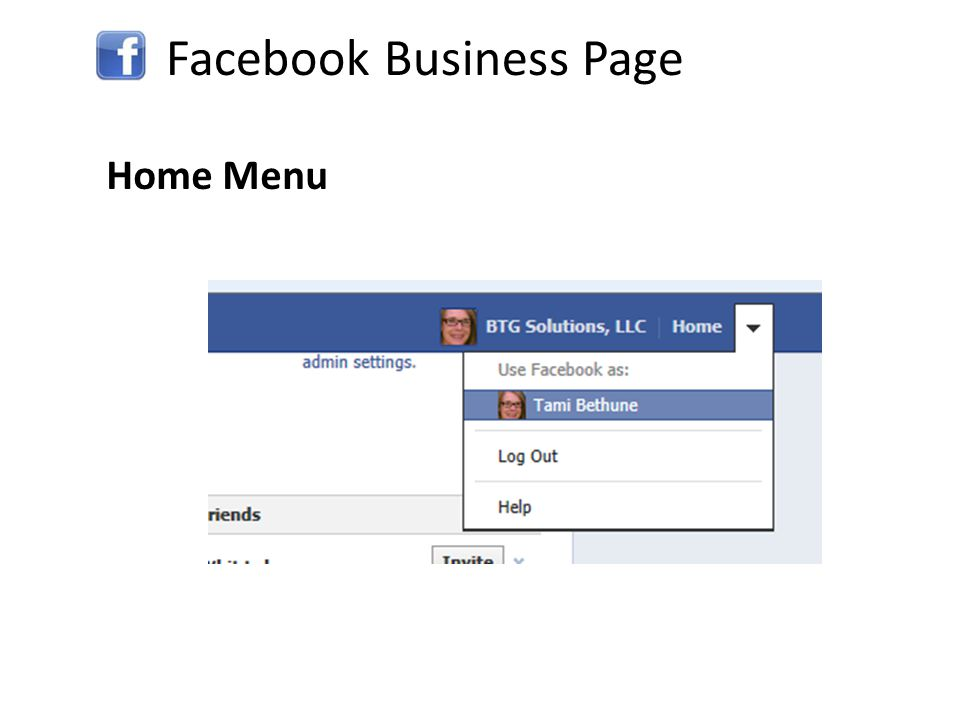 Facebook Business Page Home Menu