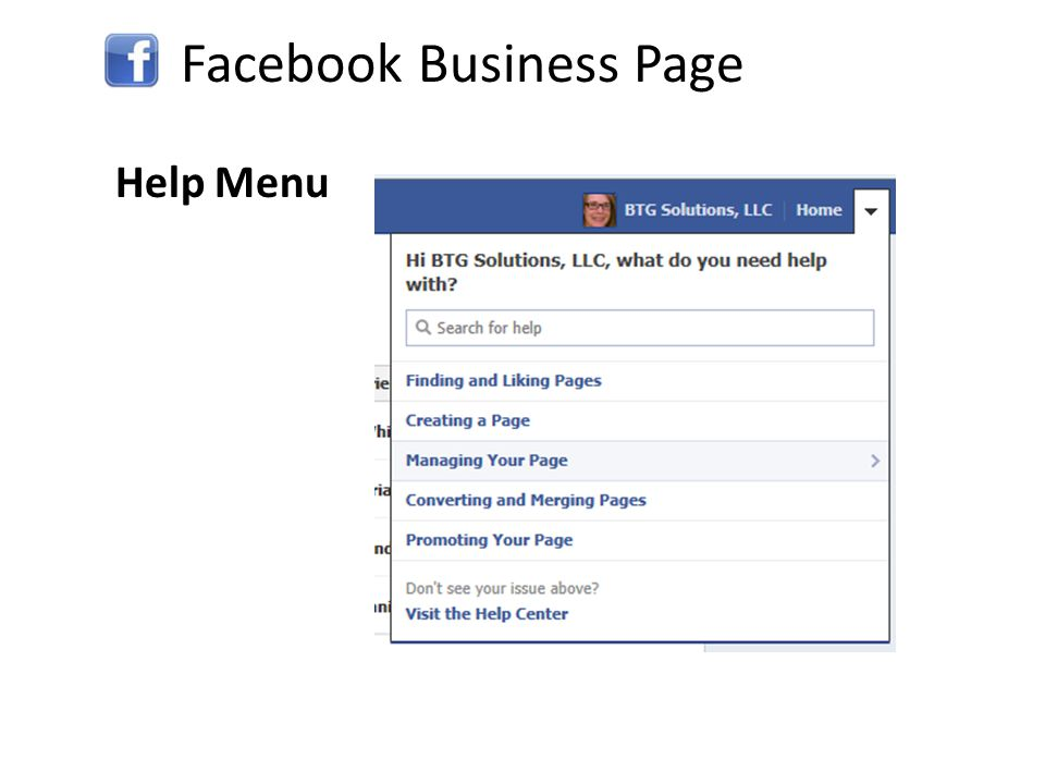 Facebook Business Page Help Menu
