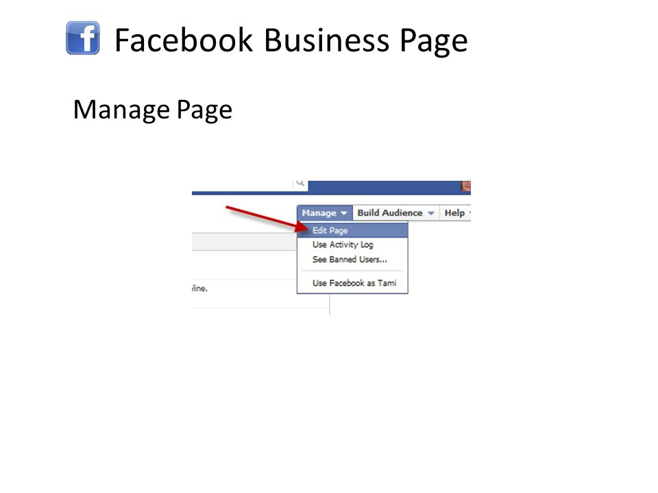 Facebook Business Page Manage Page