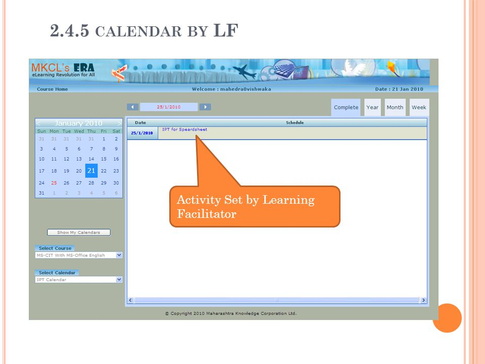 Activity Set by Learning Facilitator 2.4.5 CALENDAR BY LF