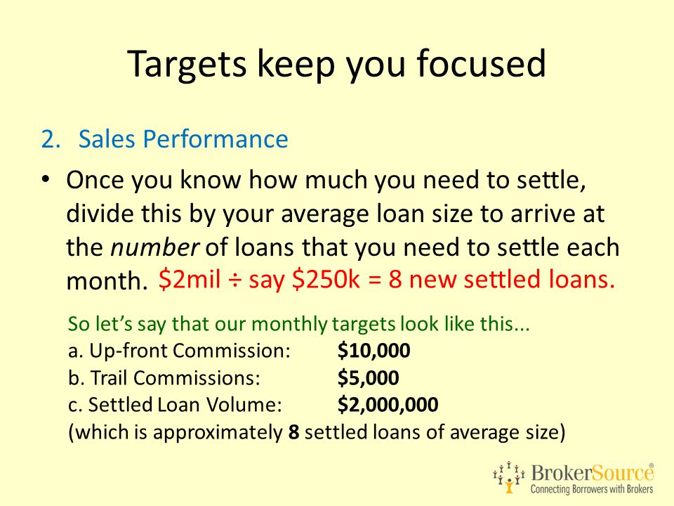 2.Sales Performance Once you know how much you need to settle, divide this by your average loan size to arrive at the number of loans that you need to