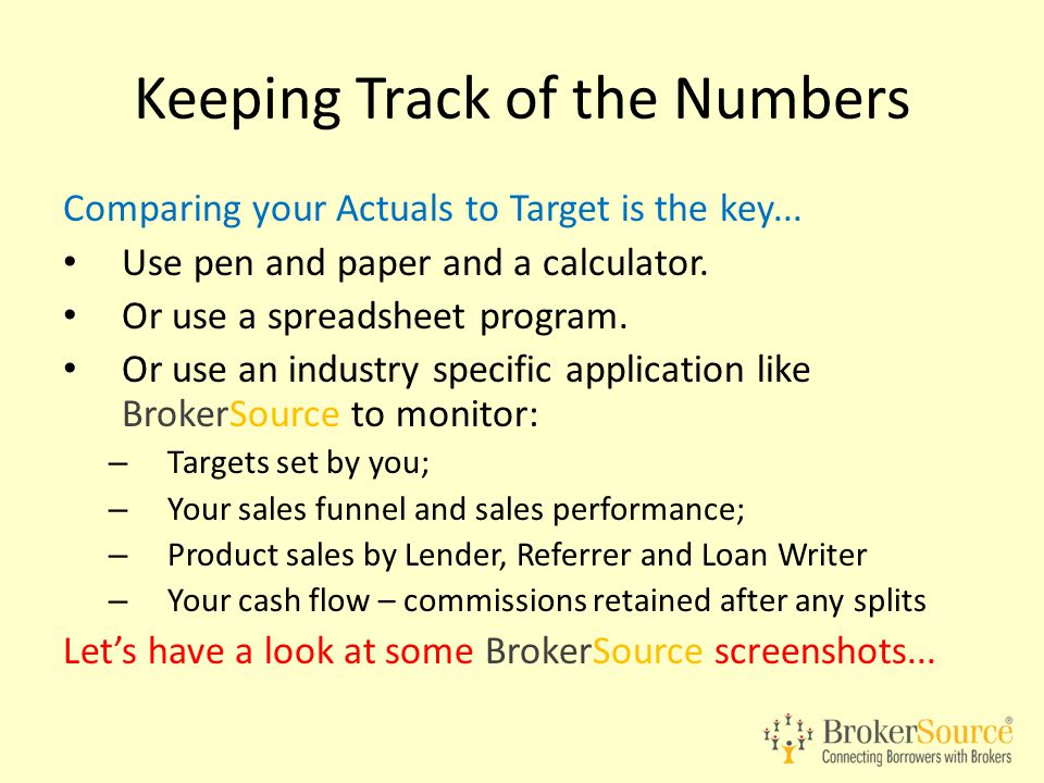 Comparing your Actuals to Target is the key... Use pen and paper and a calculator. Or use a spreadsheet program. Or use an industry specific applicati