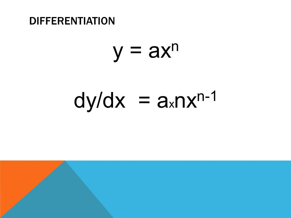 DIFFERENTIATION y = ax n dy/dx = a x nx n-1