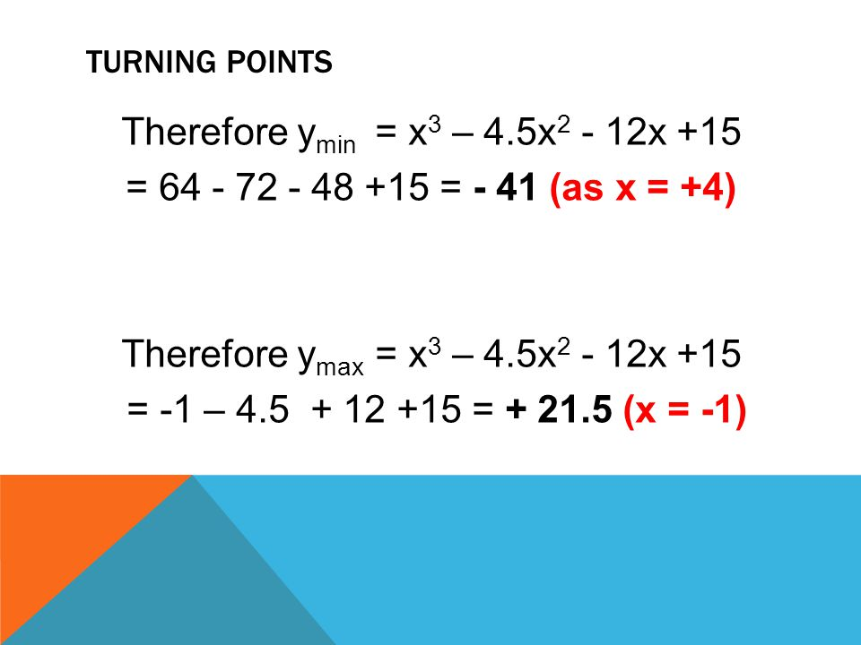 TURNING POINTS Therefore y min = x 3 – 4.5x 2 - 12x +15 = 64 - 72 - 48 +15 = - 41 (as x = +4) Therefore y max = x 3 – 4.5x 2 - 12x +15 = -1 – 4.5 + 12
