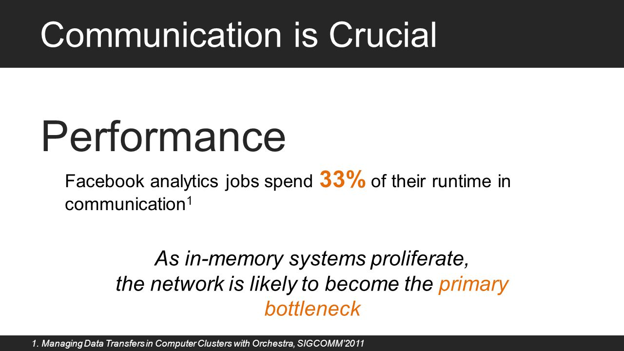 Performance Facebook analytics jobs spend 33% of their runtime in communication 1 As in-memory systems proliferate, the network is likely to become th