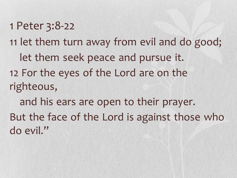 1 Peter 3:8-22 11 let them turn away from evil and do good; let them seek peace and pursue it.