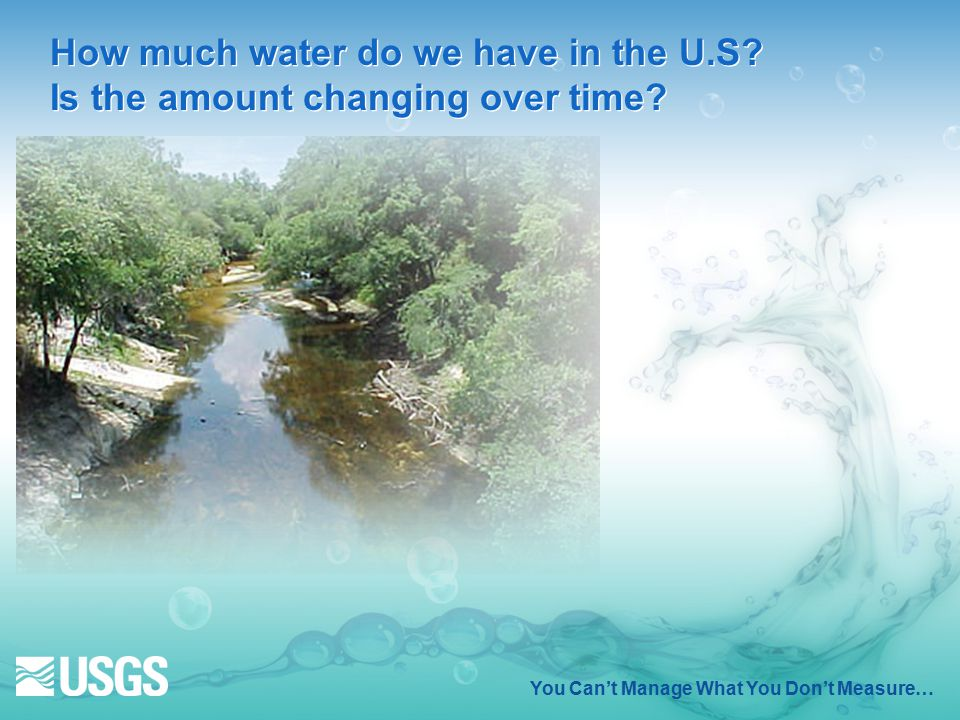 How much water do we have in the U.S. Is the amount changing over time.