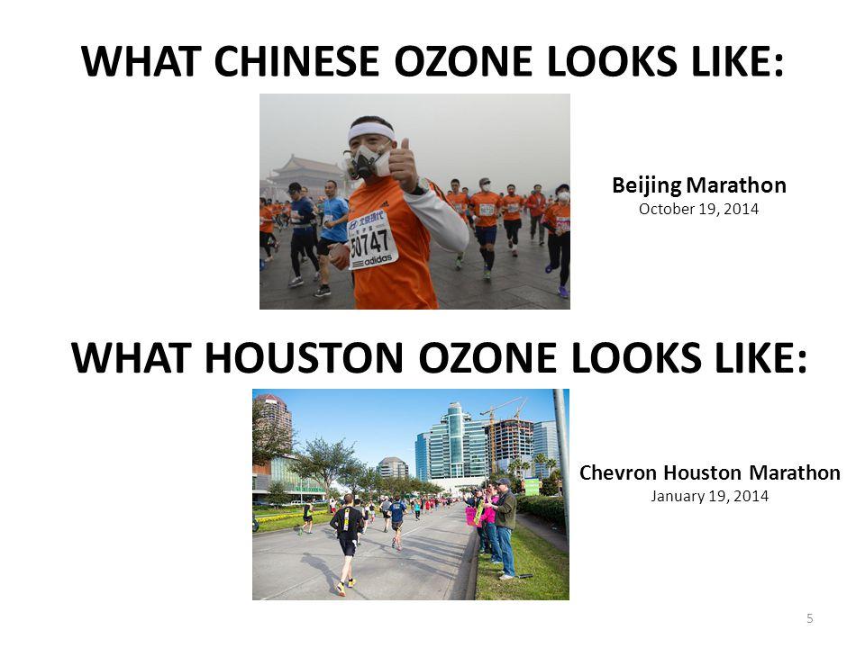 WHAT CHINESE OZONE LOOKS LIKE: 5 WHAT HOUSTON OZONE LOOKS LIKE: Beijing Marathon October 19, 2014 Chevron Houston Marathon January 19, 2014