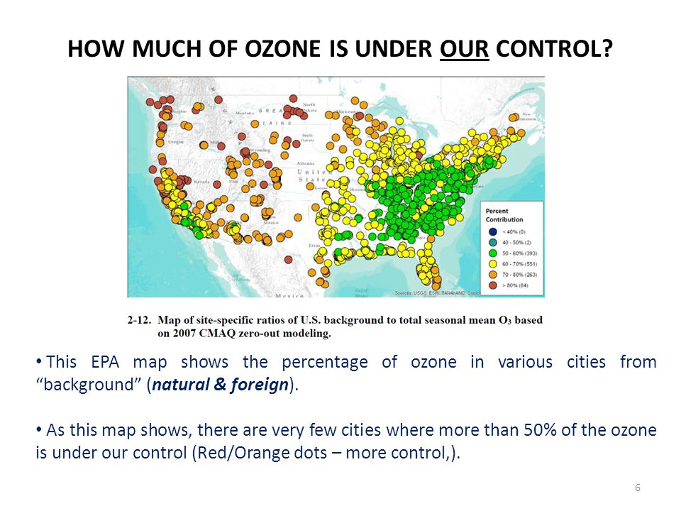 This EPA map shows the percentage of ozone in various cities from background (natural & foreign).