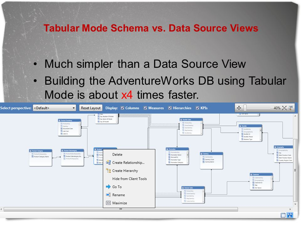 Tabular Mode Schema vs. Data Source Views Much simpler than a Data Source View Building the AdventureWorks DB using Tabular Mode is about x4 times fas