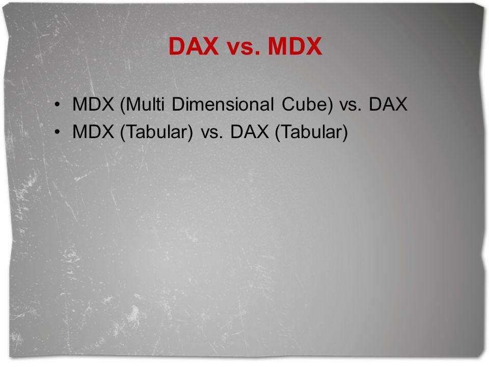 MDX (Multi Dimensional Cube) vs. DAX MDX (Tabular) vs. DAX (Tabular)