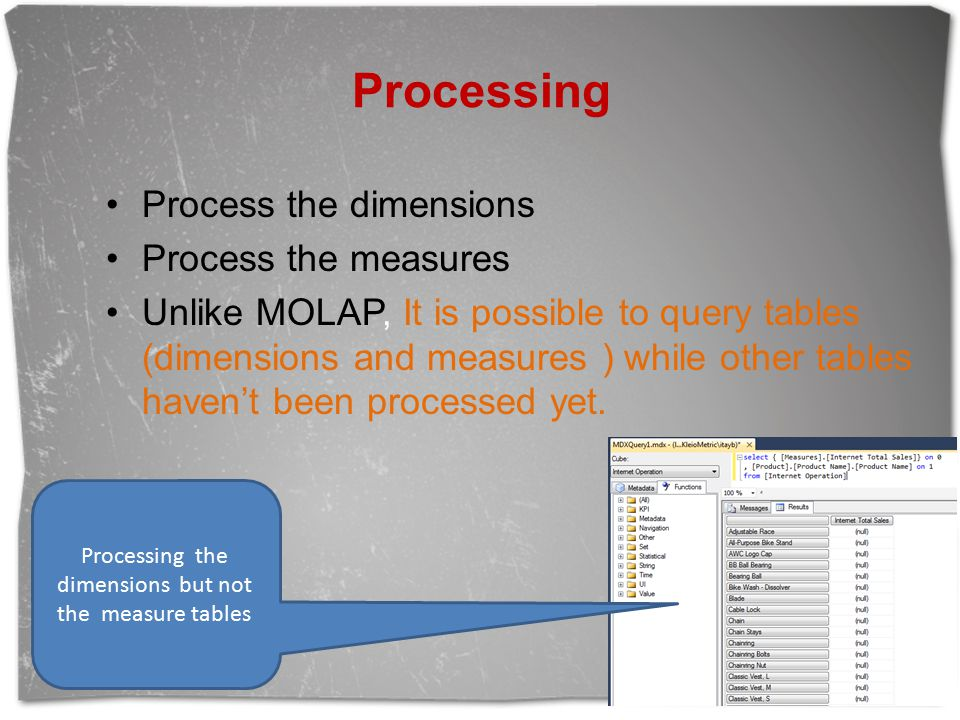 Processing Process the dimensions Process the measures Unlike MOLAP, It is possible to query tables (dimensions and measures ) while other tables haven't been processed yet.