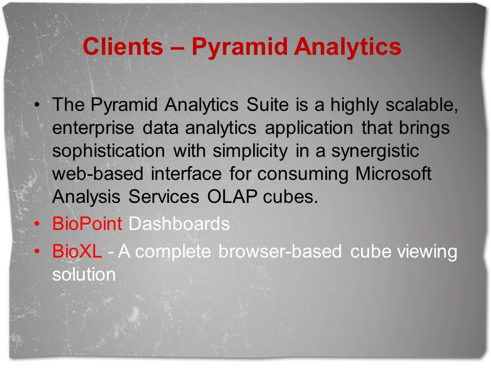 Clients – Pyramid Analytics The Pyramid Analytics Suite is a highly scalable, enterprise data analytics application that brings sophistication with si