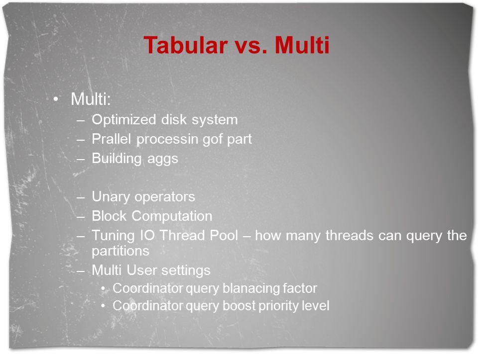 Tabular vs. Multi Multi: –Optimized disk system –Prallel processin gof part –Building aggs –Unary operators –Block Computation –Tuning IO Thread Pool